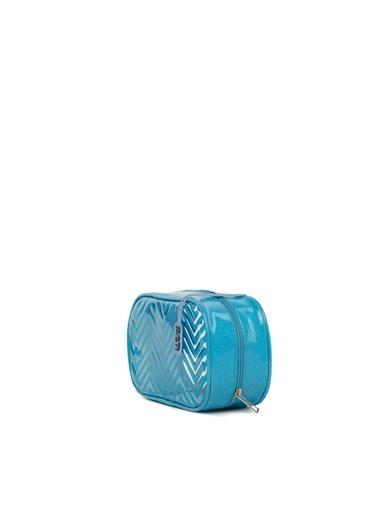 Bagmori  Kadın Simli Baskılı Şeffaf Makyaj Çantası M000006235 Mavi